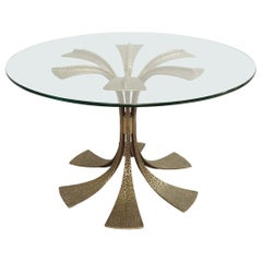 Hammered Brass Dining Table by Luciano Frigerio, 1980s