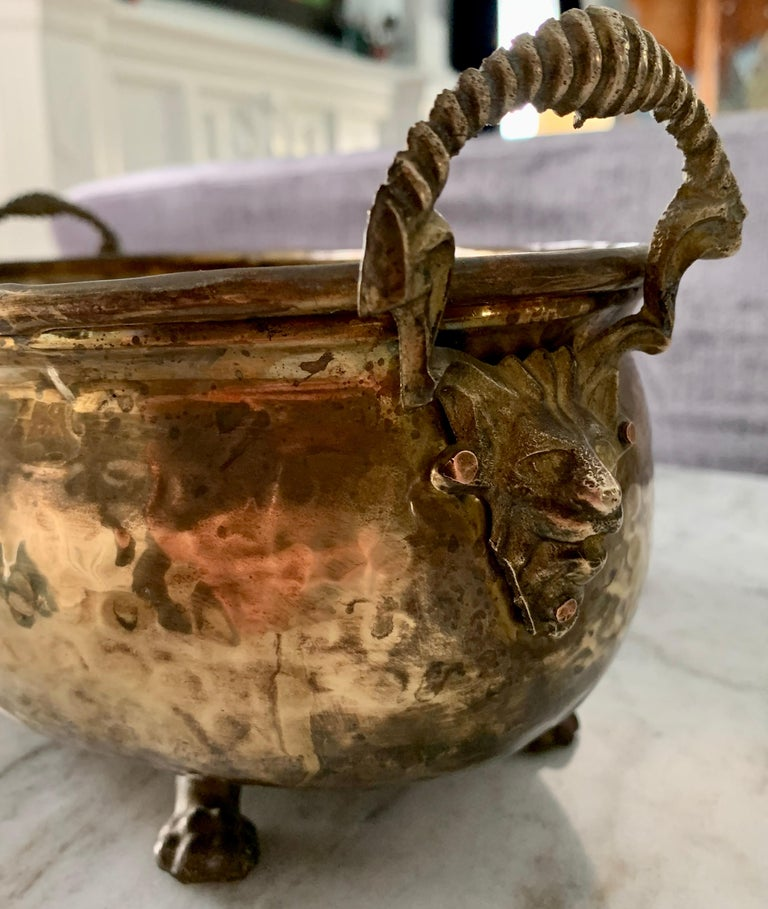 Neoclassical Hammered Brass jardinière with Lion Handle with Paw Feet For Sale