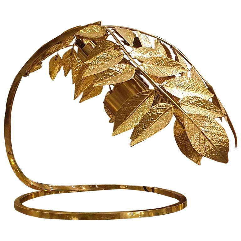 Tommaso Barbi hammered-brass leaf table lamp, 1960s, offered by D'Lightus