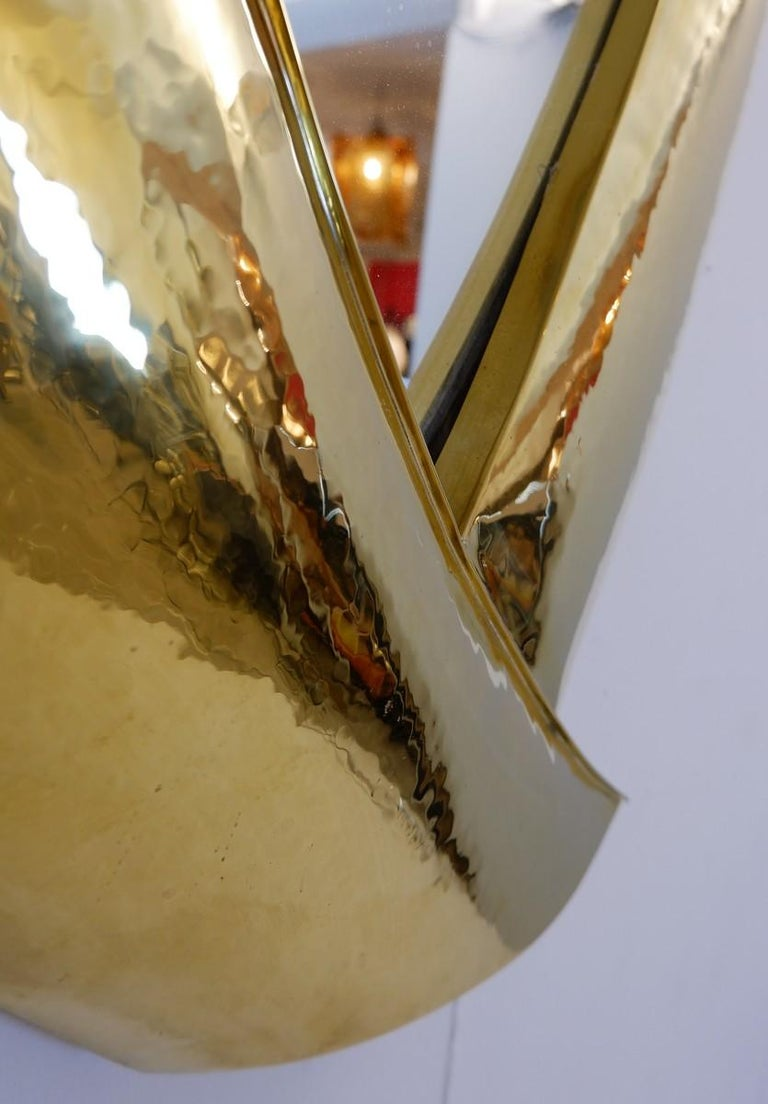 Hammered Brass Mirror In Good Condition For Sale In Brussels, BE