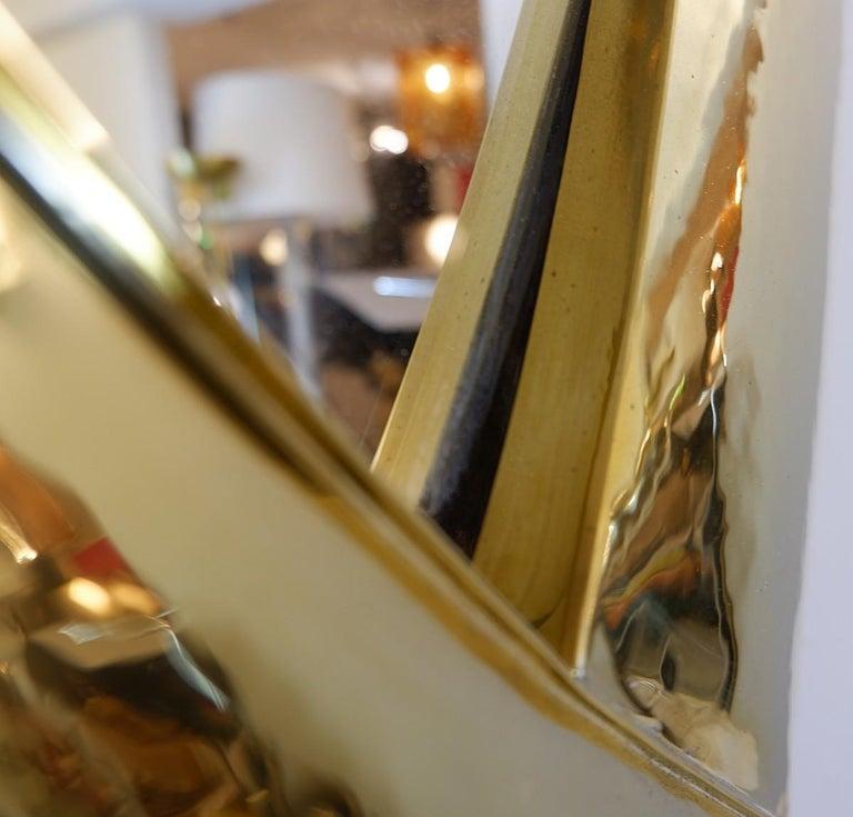 20th Century Hammered Brass Mirror For Sale