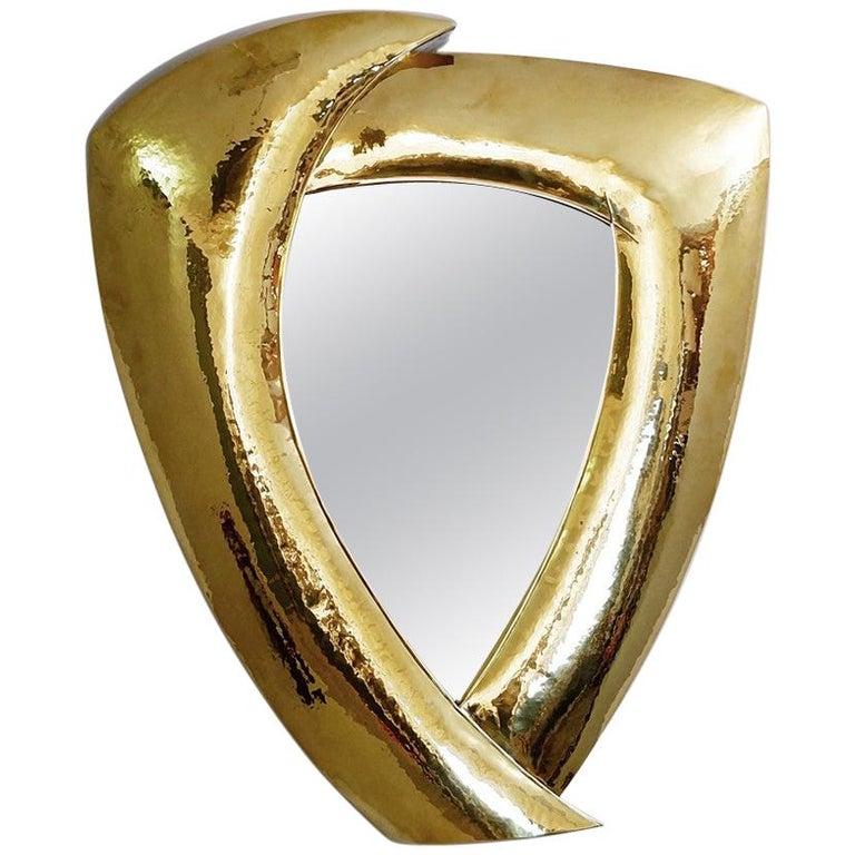 Hammered Brass Mirror For Sale