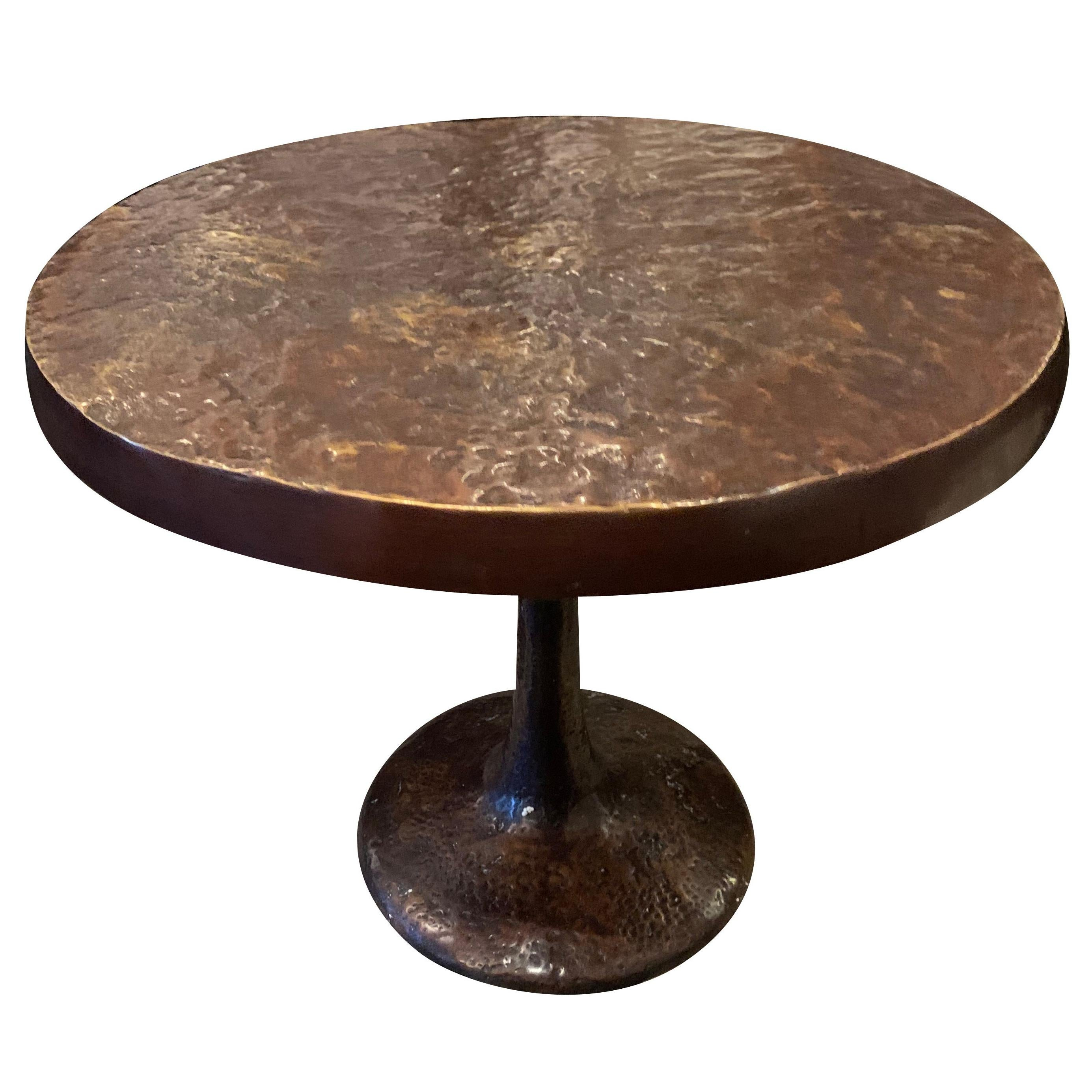 Hammered Bronze Side Table on Pedestal Base, Germany, Contemporary