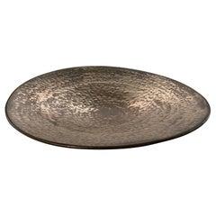 Hammered Bronze Stoneware Platter by Ceramicist Sandi Fellman