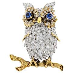 Hammered Brothers Diamond Owl Vintage Platinum Brooch