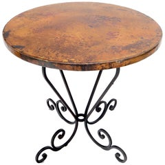 Hammered Coper Top Wrought Iron Base Round Dining Dinette Cafe Table