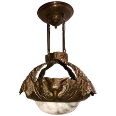 Hammered Copper Alabaster Fixture