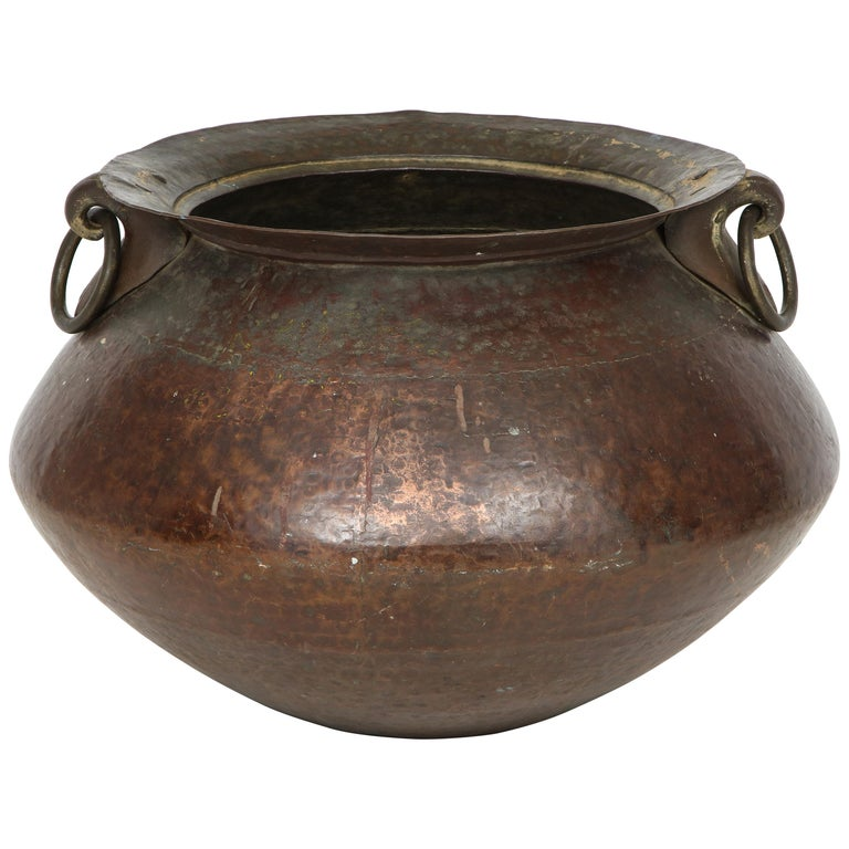 Hammered Copper and Moorish, 19th Century Bronze Basin For Sale