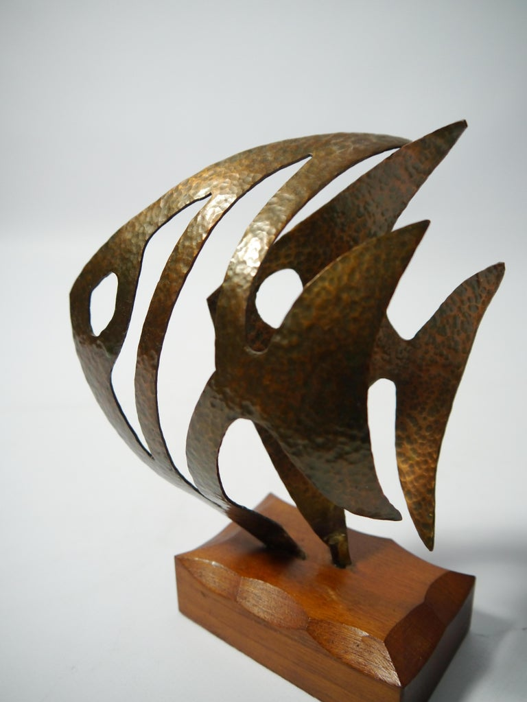 Hammered Copper Fish Sculpture on Teak Base, Sweden, 1970s For Sale 1