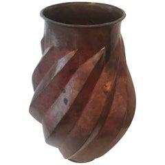 Hammered Copper Vase or Urn
