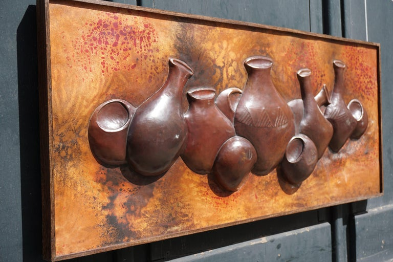 Congolese Hammered Copper Wall Relief Sculpture Panel with African Pots For Sale
