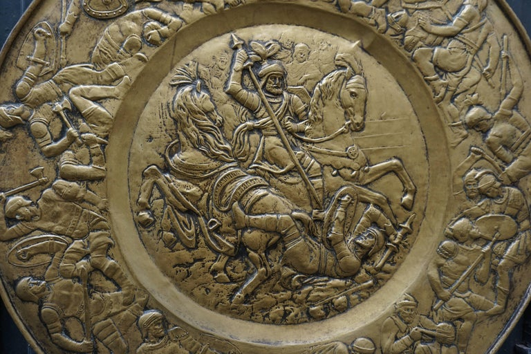 Hammered Copper Wall Relief Sculpture with Roman Warriors For Sale 4