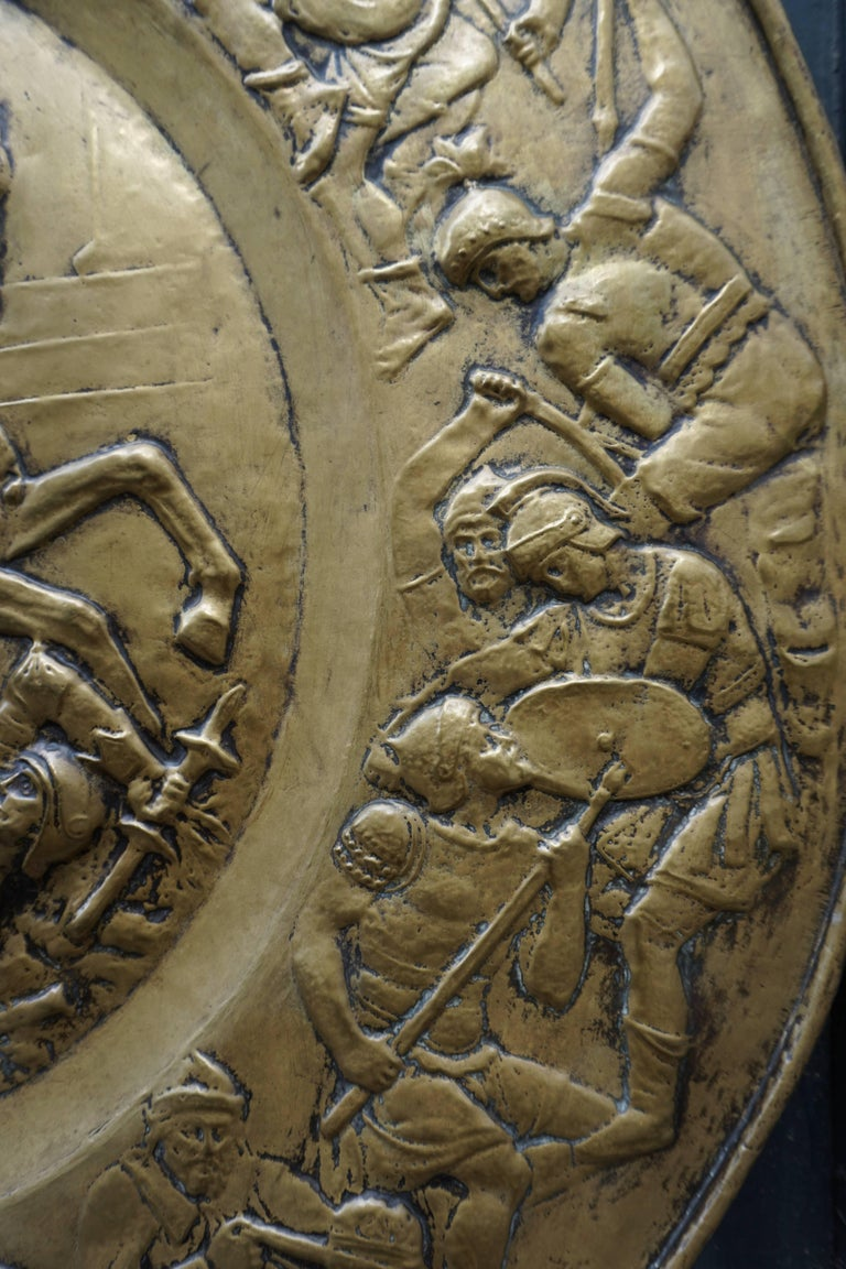 Hammered Copper Wall Relief Sculpture with Roman Warriors For Sale 5