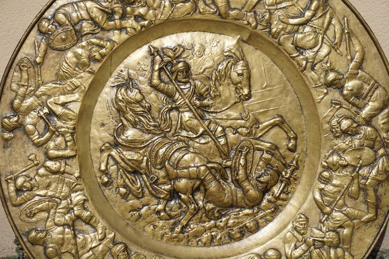 Hammered Copper Wall Relief Sculpture with Roman Warriors For Sale 8