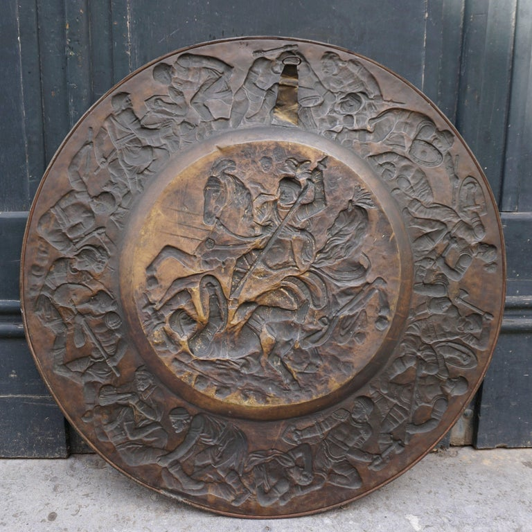 Hammered Copper Wall Relief Sculpture with Roman Warriors For Sale 9