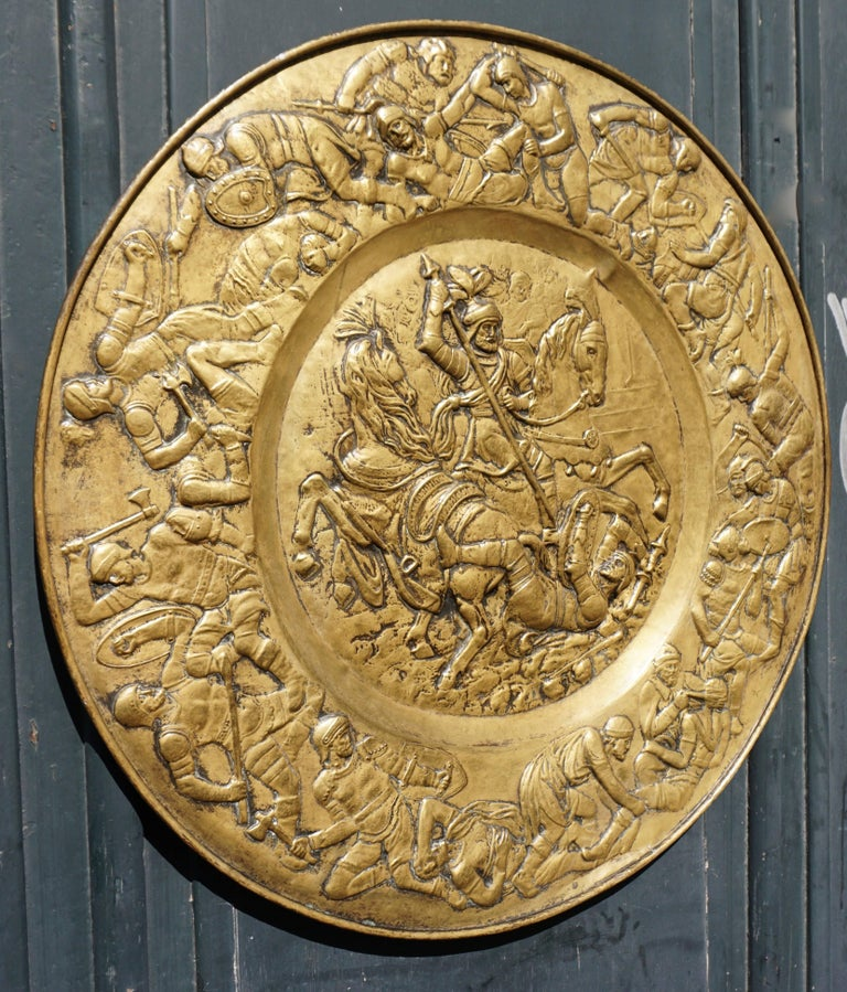 Mid-Century Modern Hammered Copper Wall Relief Sculpture with Roman Warriors For Sale