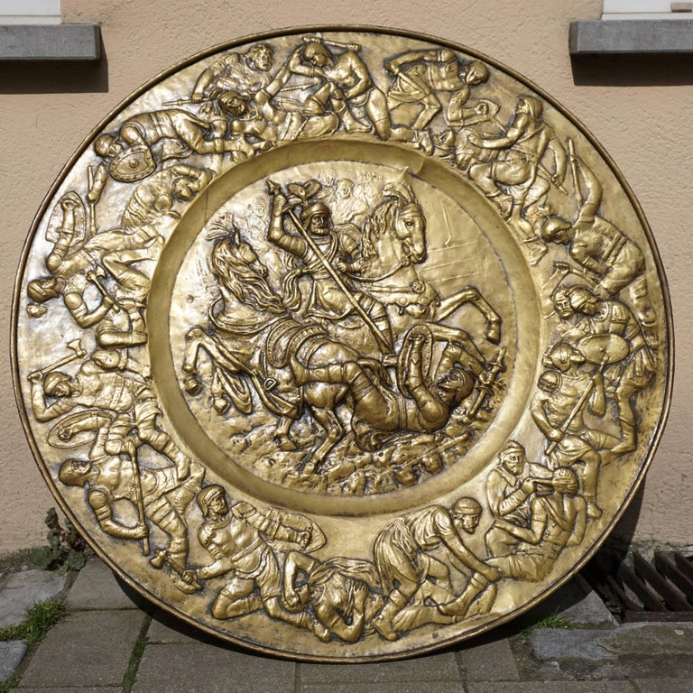 Italian Hammered Copper Wall Relief Sculpture with Roman Warriors For Sale