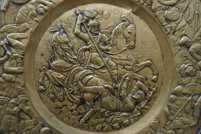 20th Century Hammered Copper Wall Relief Sculpture with Roman Warriors For Sale
