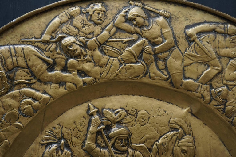 Hammered Copper Wall Relief Sculpture with Roman Warriors For Sale 1