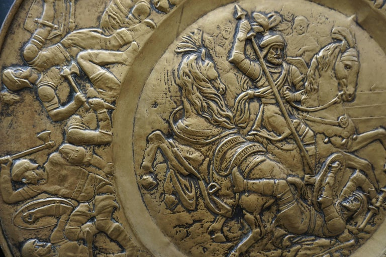 Hammered Copper Wall Relief Sculpture with Roman Warriors For Sale 3