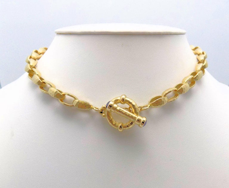 Women's Hammered Finish Oval Rolo Link Necklace For Sale