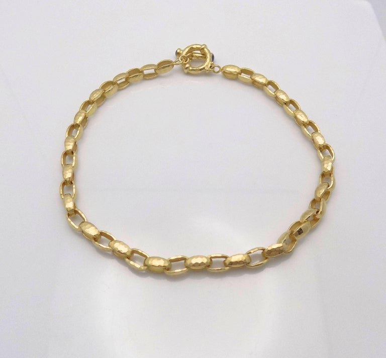 Hammered Finish Oval Rolo Link Necklace For Sale 4