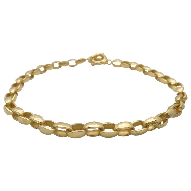 Hammered Finish Oval Rolo Link Necklace For Sale