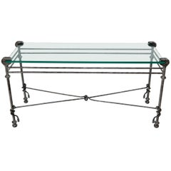"""Hammered Forged Metal Wrought Iron Base 3/4"""" Glass Top Console Table Giacometti"""