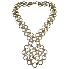 Hammered gilt and textured silvered metal 'sautoir' necklace, France, 1960s