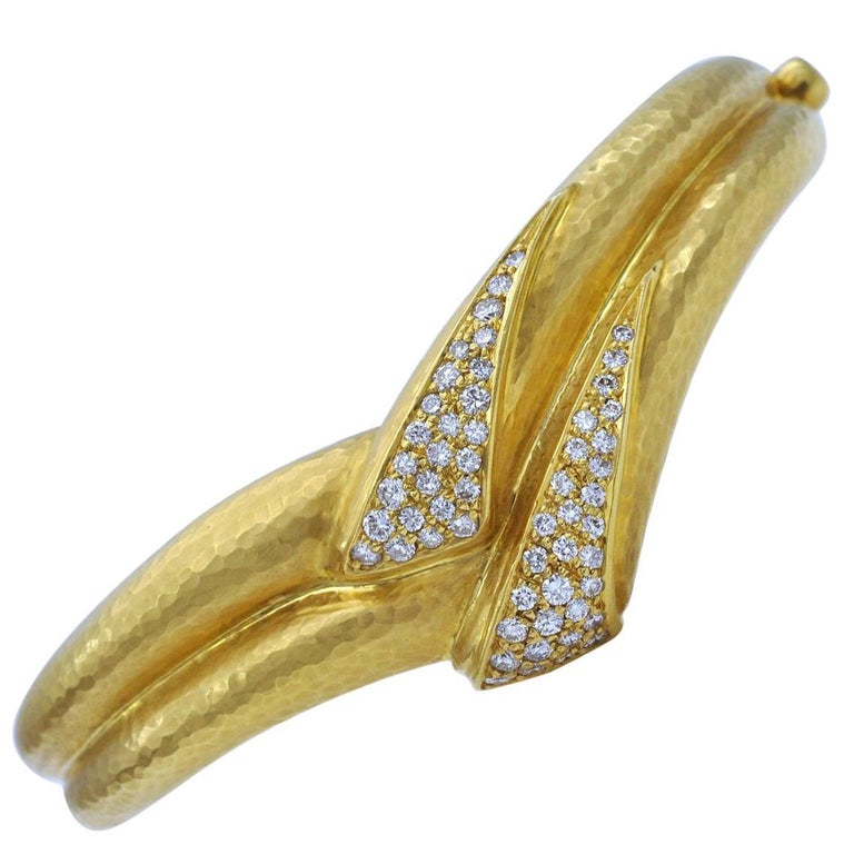 Hammered Gold and Diamond Cuff Bracelet For Sale