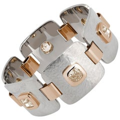 Hammered Gold Bracelet, 18K White and Rose Gold, 6 Cushion-Cut Diamonds 7.43ct