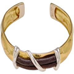 Hammered Gold Cuff Bracelet with Silver Elements and Leather Insert