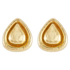 Hammered Gold Diamond Clip-On Earrings