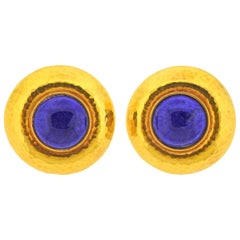 Hammered Gold Lapis Lazuli Earrings