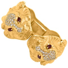 Hammered Gold, Ruby and Diamond Lion Head Cuff Bangle Bracelet