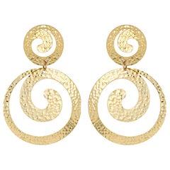 Hammered Gold Swirl Earrings Vintage 18 Karat Yellow Gold Estate Fine Jewelry