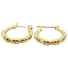 Hammered Huggie Hoop Earrings 14 Karat Yellow Gold