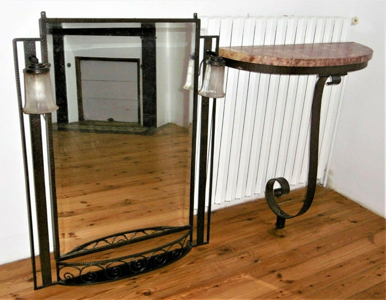 Mid-20th Century Hammered Iron Art Deco Mirror and Console, circa 1930 For Sale