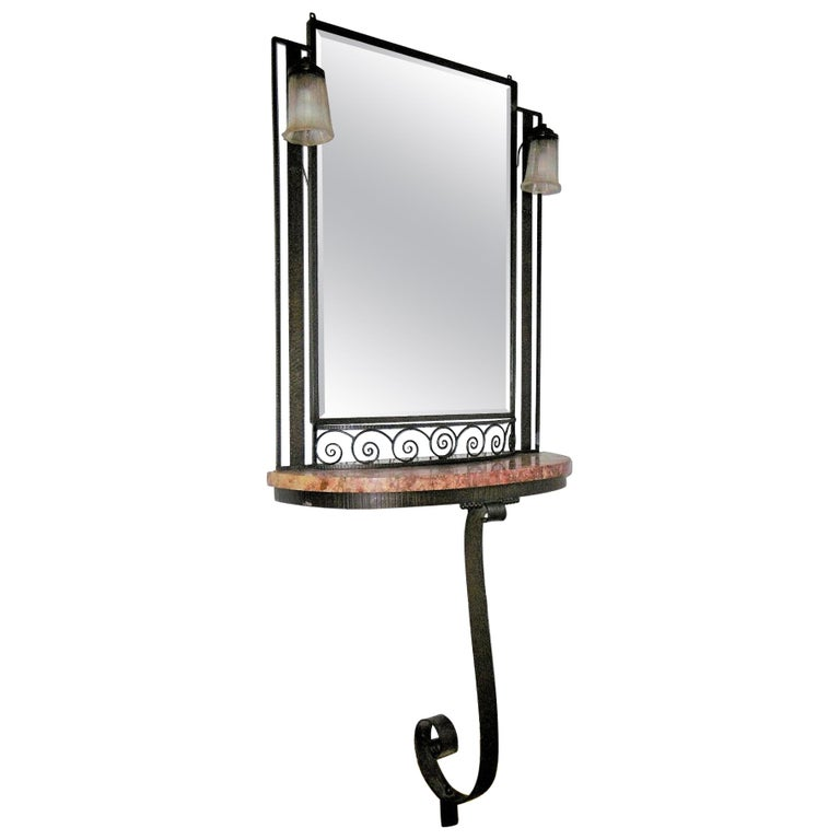 Hammered Iron Art Deco Mirror and Console, circa 1930 For Sale