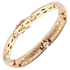 Hammered Link 14 Karat Yellow Gold Bracelet
