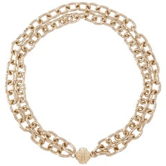 Double Strand 14K Yellow Gold Plated Hammered Links Necklace