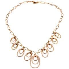 Hammered Open Circle 14 Karat Rose Gold Necklace