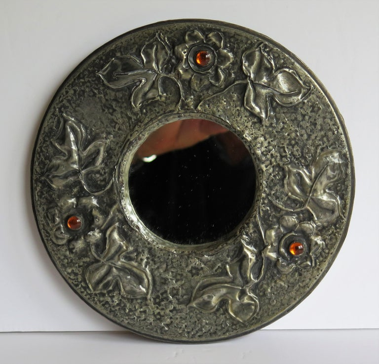 Hammered Pewter Wall Mirror Arts & Crafts with Amber Cabochons, circa 1900 For Sale 4