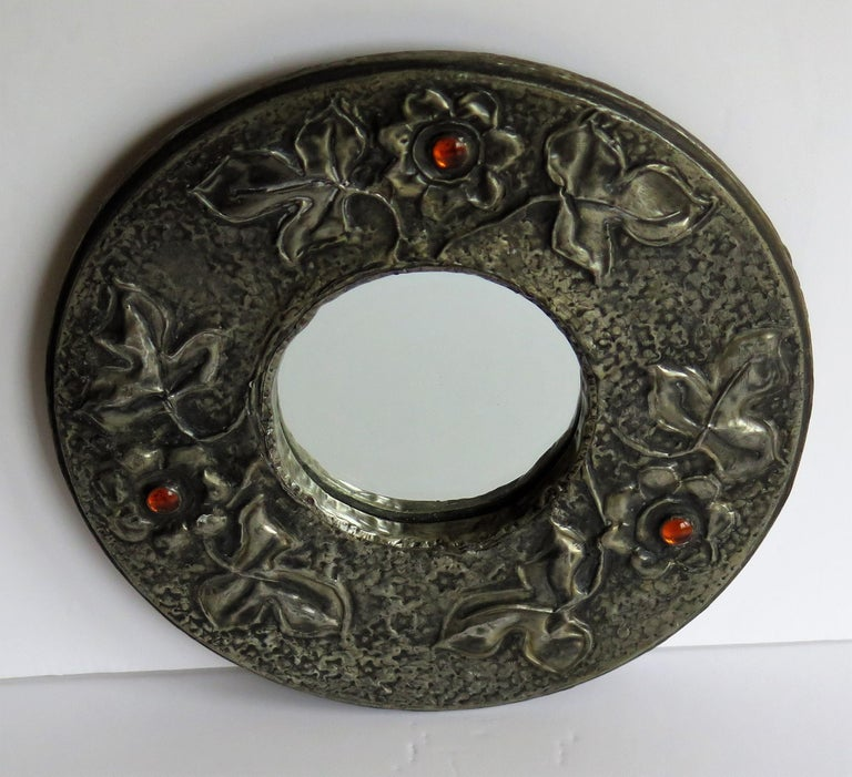Hammered Pewter Wall Mirror Arts & Crafts with Amber Cabochons, circa 1900 For Sale 5