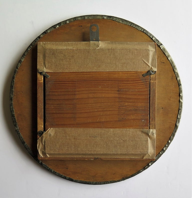 Hammered Pewter Wall Mirror Arts & Crafts with Amber Cabochons, circa 1900 For Sale 13