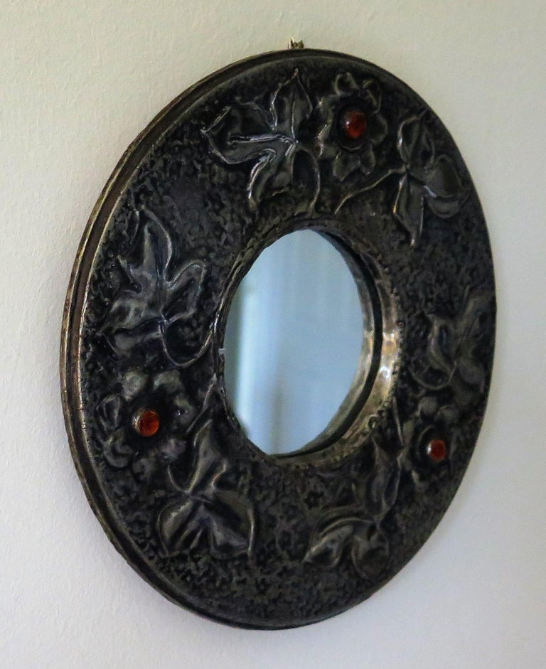 Arts and Crafts Hammered Pewter Wall Mirror Arts & Crafts with Amber Cabochons, circa 1900 For Sale