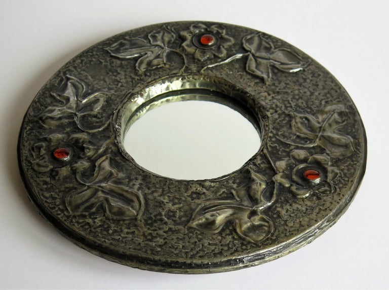 19th Century Hammered Pewter Wall Mirror Arts & Crafts with Amber Cabochons, circa 1900 For Sale