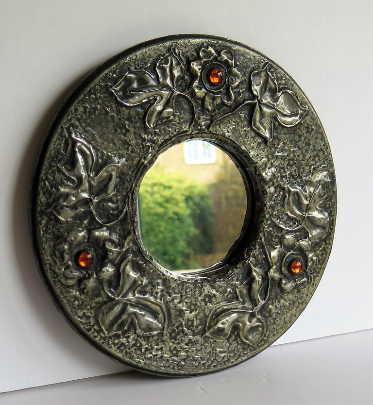 Hammered Pewter Wall Mirror Arts & Crafts with Amber Cabochons, circa 1900 For Sale 1