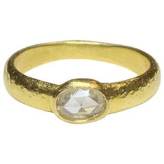 Hammered Ring with Oval Rose Cut Diamond in 18 Karat Gold, A2 by Arunashi