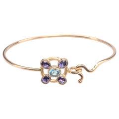 Hammered Rose Gold Deep Blue Iolite Blue Topaz Twisted Bangle Bracelet